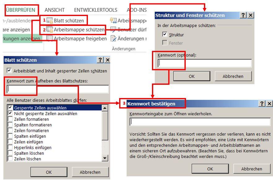 Die verschiedenen Ebenen des Schutzes einer Excel-Datei