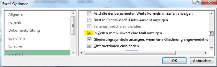 Excel: Nullwerte ein- und ausblenden